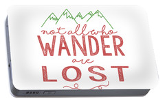 Portable Battery Charger featuring the digital art Not All Who Wander Are Lost In Pink by Heather Applegate