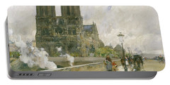 Notre Dame Cathedral - Paris Portable Battery Charger by Childe Hassam