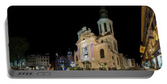 Notre-dame De Quebec Basilica-cathedral At Night Portable Battery Charger