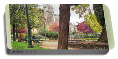 Notre Dame From Square Rene Viviani Portable Battery Charger by Felipe Adan Lerma
