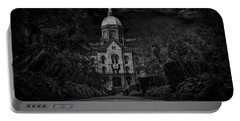 Notre Dame University Golden Dome Bw Portable Battery Charger by David Haskett