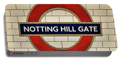 Notting Hill Gate Tube Sign Portable Battery Charger by Lana Enderle