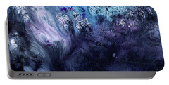 November Rain - Contemporary Blue Abstract Painting Portable Battery Charger