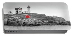 Nubble Lighthouse In Color And Black And White Portable Battery Charger