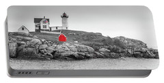 Portable Battery Charger featuring the photograph Nubble Lighthouse In Color And Black And White by Doug Camara