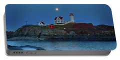 Portable Battery Charger featuring the photograph Nubble Lighthouse Lit For Christmas by Jeff Folger
