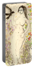 Nude Female With Bird Portable Battery Charger