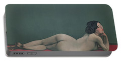 Nude Stretched Out On A Piece Of Cloth Portable Battery Charger