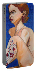 Nude With Flower Tatoo Portable Battery Charger