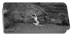 Nude Woman Pulling Shape By Rocks Portable Battery Charger