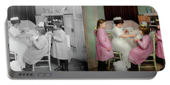 Portable Battery Charger featuring the photograph Nurse - Playing Nurse 1918 - Side By Side by Mike Savad
