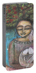 Portable Battery Charger featuring the mixed media Nurture Nature by Prerna Poojara