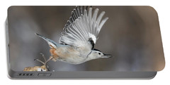Portable Battery Charger featuring the photograph Nuthatch In Action by Mircea Costina Photography