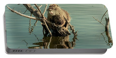 Portable Battery Charger featuring the photograph Nutria On Stick-up by Robert Frederick