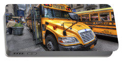 Nyc School Bus Portable Battery Charger by Yhun Suarez