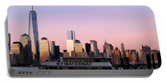 Nyc Skyline With Boat At Pier Portable Battery Charger