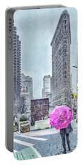 Nyc Snowy Scene Portable Battery Charger