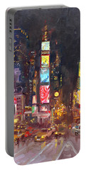 Nyc Times Square Portable Battery Charger by Ylli Haruni