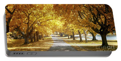 Oak Tree Avenue In Autumn Portable Battery Charger