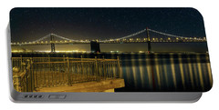 Oakland Bay Bridge By The Pier In San Francisco At Night Portable Battery Charger