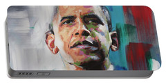 Portable Battery Charger featuring the painting Obama by Richard Day