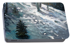 Portable Battery Charger featuring the painting Observing Snow by Gary Coleman