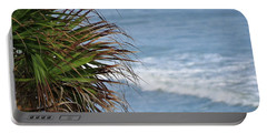Ocean And Palm Leaves Portable Battery Charger by Kathy Long