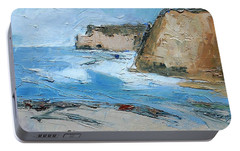 Portable Battery Charger featuring the painting Ocean Cliffs by Gary Coleman