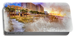 Ocean Drive Sunrise Watercolor Portable Battery Charger