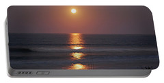 Ocean Moon In Pastels Portable Battery Charger by DigiArt Diaries by Vicky B Fuller