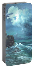 Seascape And Moonlight An Ocean Scene Portable Battery Charger by Luczay