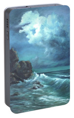 Portable Battery Charger featuring the painting Seascape And Moonlight An Ocean Scene by Luczay