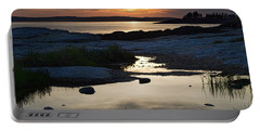 Ocean Point Sunset In East Boothbay Maine  -23091-23093 Portable Battery Charger