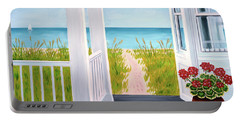 Ocean Porch View And Geraniums Portable Battery Charger