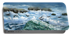 Ocean Waves And Pelicans Portable Battery Charger