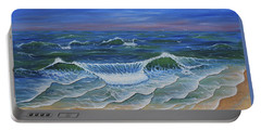 Portable Battery Charger featuring the painting Ocean Waves Dance At Dawn Original Acrylic Painting by Georgeta Blanaru