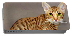 Portable Battery Charger featuring the painting Ocicat by Marian Cates