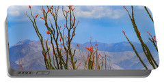 Ocotillo Cactus With Mountains And Sky Portable Battery Charger