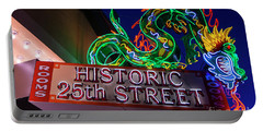Ogden's Historic 25th Street Neon Dragon Sign Portable Battery Charger by Gary Whitton