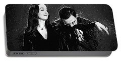 Portable Battery Charger featuring the digital art Oh Tish I Love It When You Speak French - The Addams Family  by Taylan Apukovska