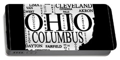 Portable Battery Charger featuring the mixed media Ohio City Typography Map by Dan Sproul
