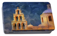 Portable Battery Charger featuring the photograph Oia Sunset Imagined by Lois Bryan