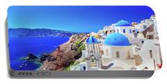 Oia Town On Santorini Island, Greece. Caldera On Aegean Sea. Portable Battery Charger