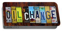 Oil Change Lettering Sign License Plate Art Portable Battery Charger