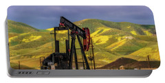 Portable Battery Charger featuring the photograph Oil Field And Temblor Hills by Marc Crumpler