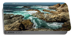 Oil Paint Of Rocks And Waves Portable Battery Charger