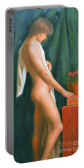 Original Oil Painting Male Nude Boy Man On Canvas#16-2-5-16 Portable Battery Charger