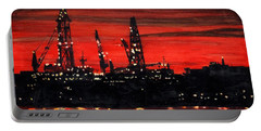 Oil Rigs Night Construction Portland Harbor Portable Battery Charger
