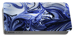 Oil Swirl Blue Droplets Abstract I Portable Battery Charger