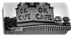 Ok Cafe Neon 2 B W Atlanta Classic Landmark Restaurant Art Portable Battery Charger